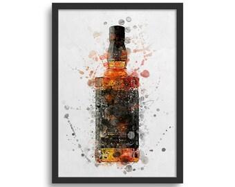 Bourbon Whisky Art Print, Bourbon Whisky Alcohol Bottle Decor Wall Art