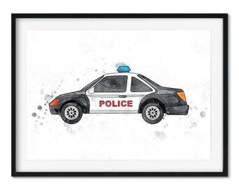 Kids Police Car Art Print, Kids Bedroom Art Print