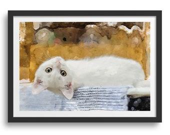 Cute White Cat Wall Art, Cute White Kitten Looking Upside Down