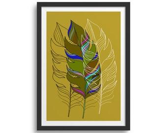 Boho Feather, Boho Art, Feather Art Print