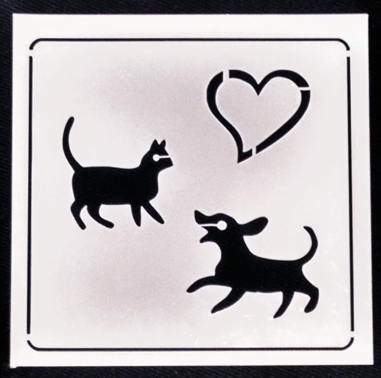 wiederverwendbare schablone hund und katze haustier | etsy