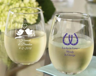 personalized wine glasses etsy