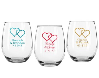a3650c93437 Set of 12 Personalized Two Hearts Design 9 ounce Stemless Wine Glasses ++ Personalized  Wine Glasses ++ Custom Wedding Favors