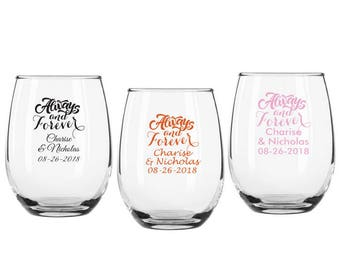 Set of 12 Personalized 9 oz 'Always and Forever' Stemless Wine Glasses ++ Personalized Glassware ++ Wedding Favors ++ Stemless Wine Glass