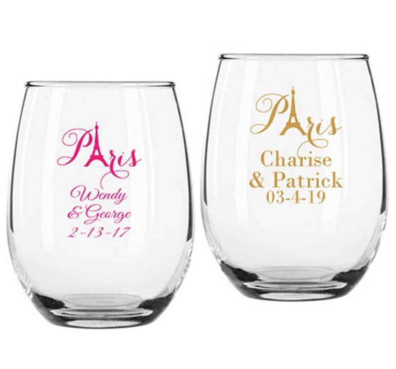 01f5a218ded Set of 12 Personalized Paris Design 9 ounce Stemless Wine | Etsy