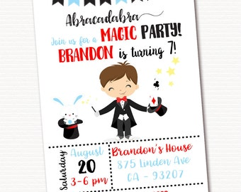 Magic Invitation, Magic Invite, Magic Birthday Invitation, Magic Birthday Party, Magic Show, PRINTABLE