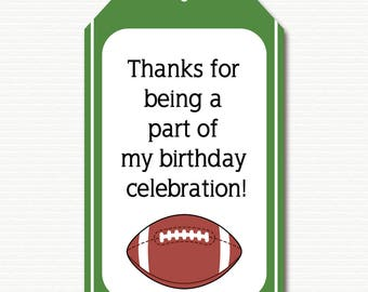 Football Favor Tag, Football Thank You Tag, Football Gift Tag, Football Party, Football Birthday, PRINTABLE, Instant Download