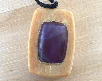 Amethyst and Basswood Pendant