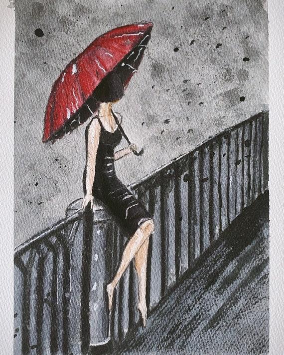 mädchen mit dem roten regenschirm  etsy