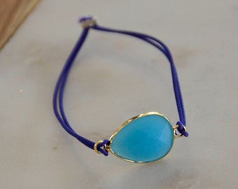 Rubber band, pendant, bracelet, jewelry, jewelry, jewellery, elastic strap, gift, gift, friendship stone blue