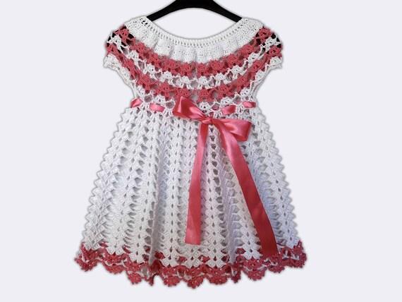 Handgestrickte Kleid Kleidung Baby Häkeln Kleid Weiß Baby Etsy