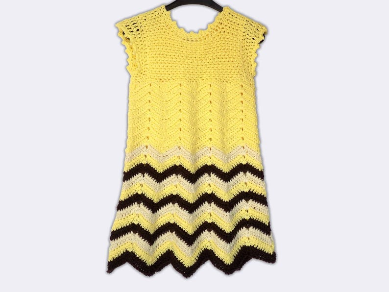 19509b092 Hand Knitted Dress Up Clothes Baby Crochet Frock Yellow Baby
