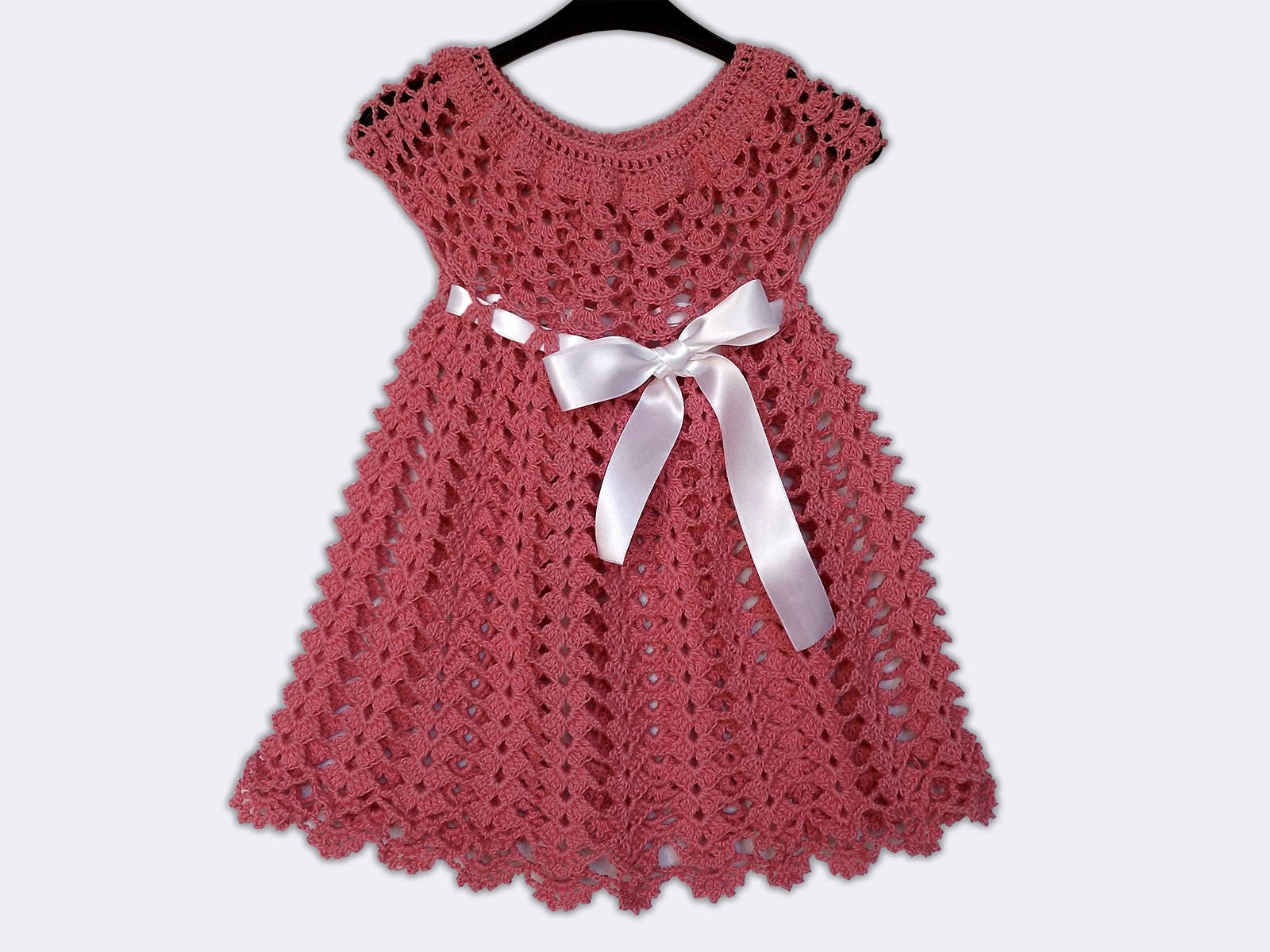 bac315b79a24 Hand Knitted Dress Up Clothes Baby Crochet Frock Pink Baby