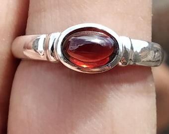 Love Natural Red Garnet Rose 925 Sterling Silver Ring Rocker Tattoo New Gothic Precious Metal Without Stones