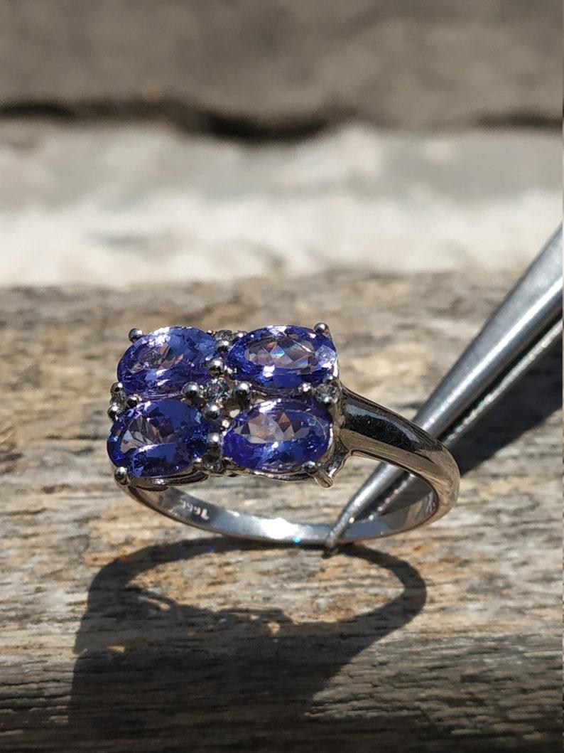 925 sterling silver ring-genuine ring NATURAL TANZANITE RING