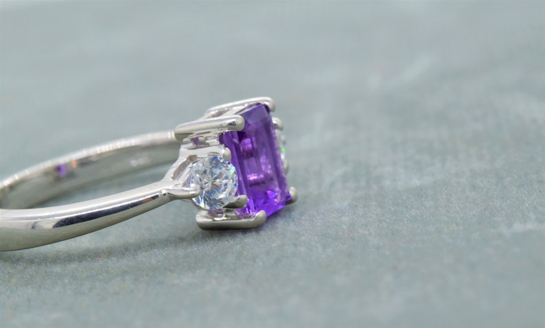 Octagon Cut Purple Gemstone February Birthstone Natural Amethyst Ring 925 Sterling Silver Proposal Ring,Gift For Her