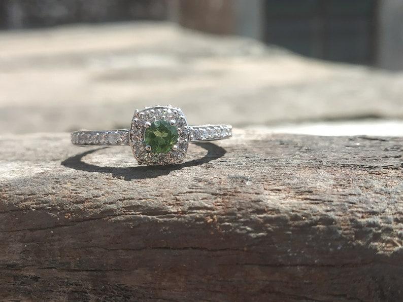 NATURAL  TOURMALINE RING-925sterling silver ring-green tourmaline ring