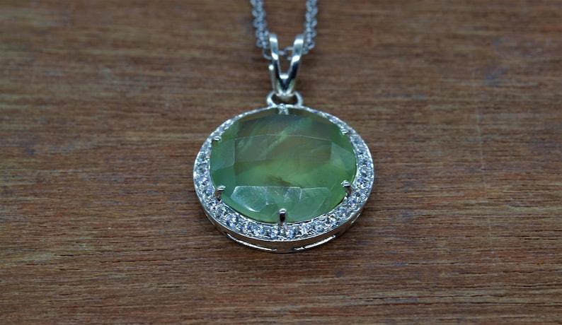 925 Sterling Silver Anniversary Pendant Green Stone Pendant Round Shape Gift For Her Friendship Pendant Natura  Prehnite Pendant
