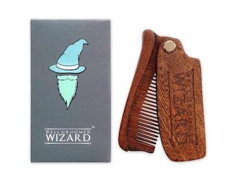 Beard Comb, Wooden Folding Beard & Hair Comb, the perfect Beard Gift