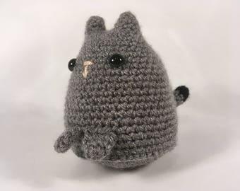 Crocheted Grey/Black Dumpling Cat
