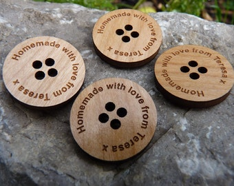 Personalised Wooden Buttons - Wood Engraved Buttons, Craft, Sewing, Knit, Crochet, Knitting