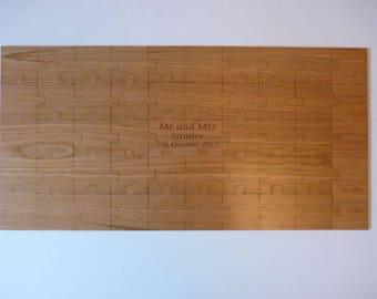 Wedding Jigsaw Guest Book : Wooden engraved Jigsaw Piece Guestbook - Wood Marriage Rustic