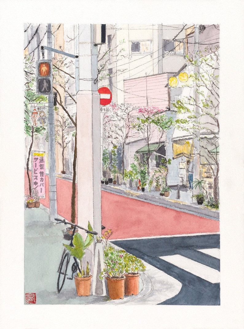 Illustration Tokyo watercolor  Pink street end of the day  image 0