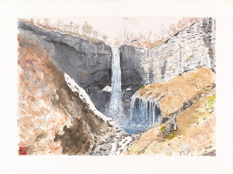 Watercolor Nikko Kegon falls  Artprint image 0
