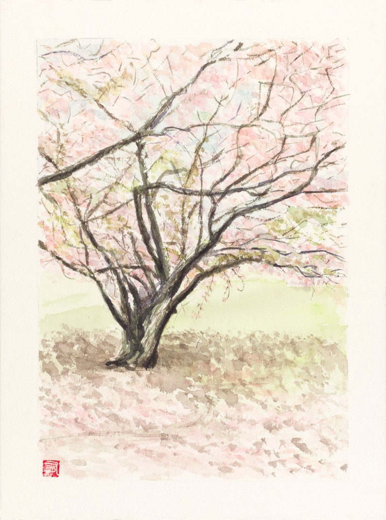 Watercolor Japan Nara Spring in Nara  image 0