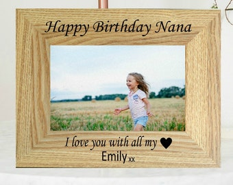 Personalised Happy Birthday Photo Frame, Engraved Photo, Picture Frame, Birthday Gift for Nana, Grandma, Granny, Grandmother, Grandparent,