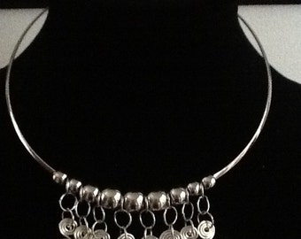 Designer Silver Color Choker Collar with Dangling Spirals &Beads