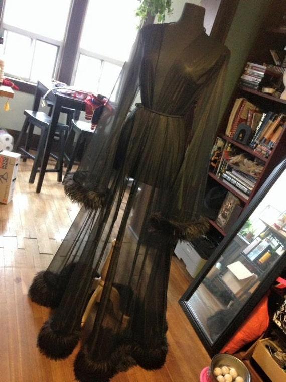 Black Mesh Dressing Gown With Faux Fur Trim Etsy