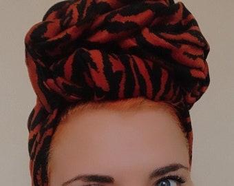 Tiger Print Turban, Ladies Turban Hat, Animal Print Turban, Big Knot No Tie Turban, Fashion Turban, Ladies Head Wrap, Vintage Style Turban