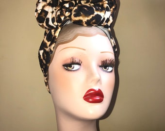 Leopard Print Turban Vintage Style