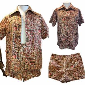 Vintage Men's Swimsuits – 1930s, 1940s, 1950s History Cabana Set Mens Hawaiian Vintage Style shirt & Shorts $140.35 AT vintagedancer.com