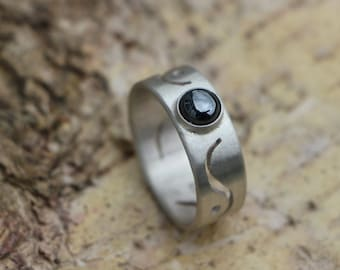 Silver fairy ring with hematite