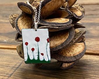 Enamel flower pendant incl. chain