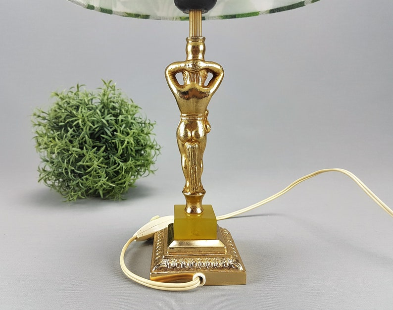 Lamp bedside table lamp brass lamp cottage lamp vintage shabby onyx antique lamp