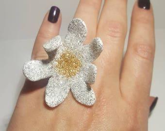 Statement ring, Oversized ring, Sparkling ring, Flower ring, Valentine Day present, Gift for her, Shimmer ring, Chamomile ring