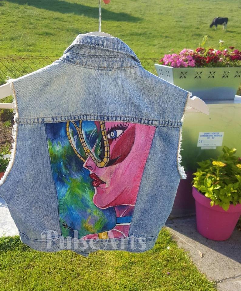58deb3931 Mano pintada Denim Jacket chaqueta a medida chaqueta de