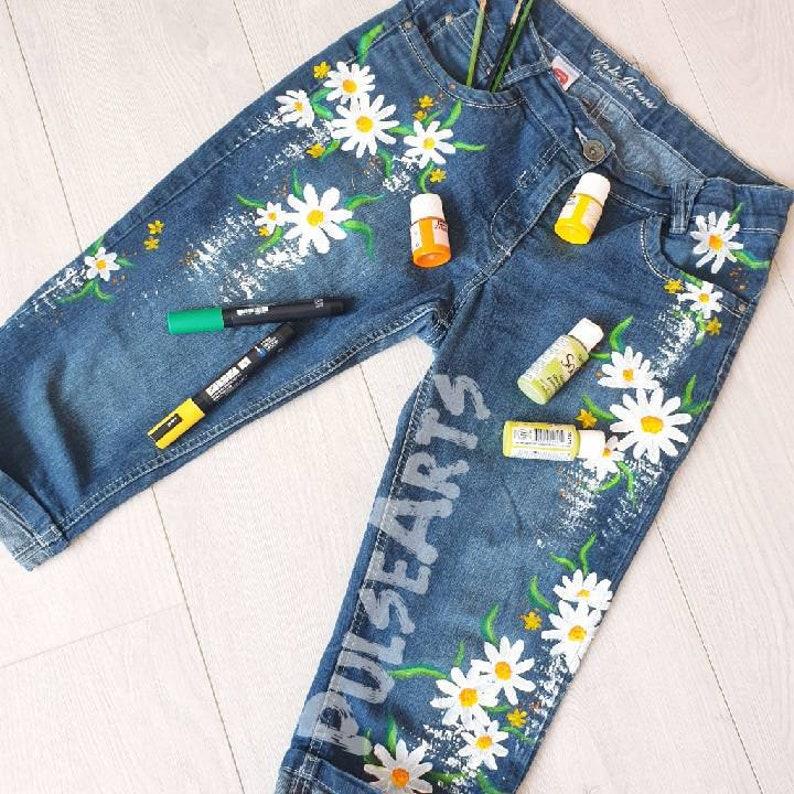 Daisy pantalones cortos pintados a mano Jeans hechos a ...