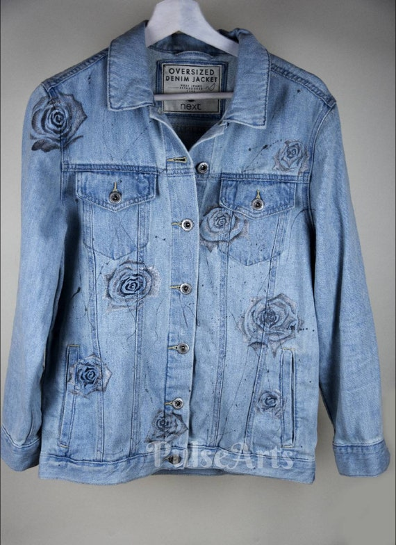 laest technology variety styles of 2019 outlet store sale Oversized Denim Jacket/ Women's Jacket/ Hand Painted Denim Jacket/ Hand  Painted Denim/ Women's Oversized Jacket/ Gift for her