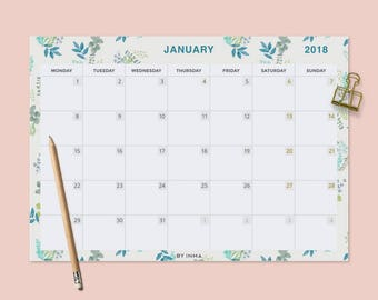 2018 wall calendar printable desk calendar pad monthly planner 2018 calendar illustration calendar pad monthly calendar