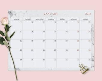 wall calendar 2018 desk pad printable desk calendar 2018 calendar printable marble gold calendar rose gold planner marble calendar