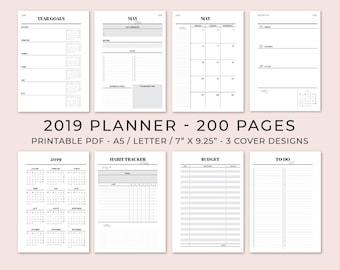 2019 Planner Printable Etsy