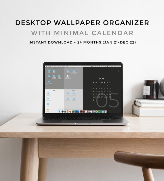 Calendar Desktop Wallpaper 2022.Desktop Wallpaper Organizer With 2021 2022 Calendar Etsy
