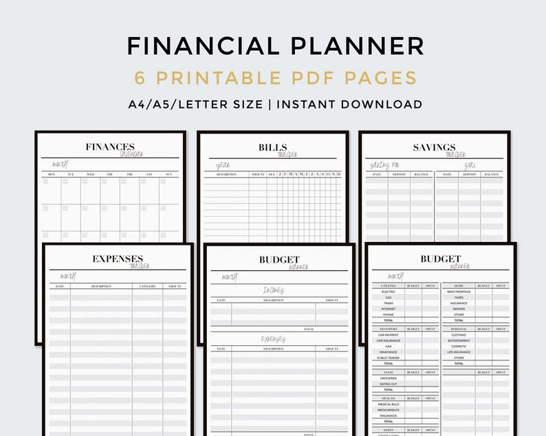photograph about Bill Organizer Printable called Fiscal planner PRINTABLE: Finances planner, Invoice organizer, Costs tracker, Invoice tracker, Finance planner, Personal savings tracker