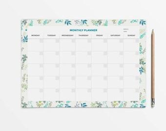 Desk planner, Student planner, Monthly planner, Undated planner calendar, PRINTABLE planner, A4 planner, Monthly planner pad, Deskpad