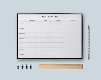 Meal Planner, Printable Planner, Desk planner pad, Meal planner pad, Menu planner, Minimalist Planner, Undated planner, Digital Download