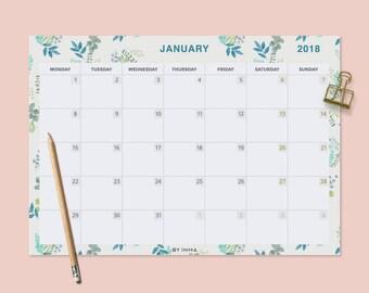 2018 Wall calendar PRINTABLE, Desk calendar pad, Monthly planner 2018, Calendar illustration, Calendar pad, Monthly calendar